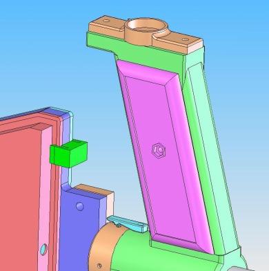 Neue Bauteile: Kompass-Halterung (oben) und Dreh-Raste (hellblaue Farbe).