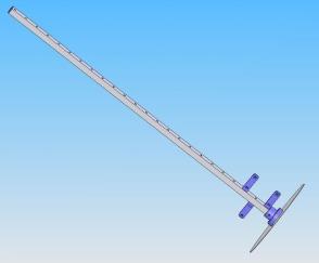 CAD-Modell der 12 Windungs L-Band-Helix. Der Boom ist aus 10x10mm Alu-Rohr.